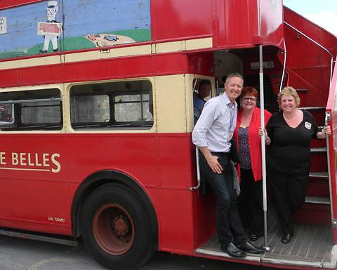 York Press: Impressionist Rory Bremner with sisters Elaine Davies and Diane Seymour, who run the Yorkshire Belles bus tour company, and who were appearing on Rory's TV show Rory Bremner's Great British Views today