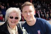 RELEASED: Former Billy Fenton Memorial Trophy Clubman of the Year Dan Parslow, pictured with Billy's widow Margot, has not been offered a new deal at York City.