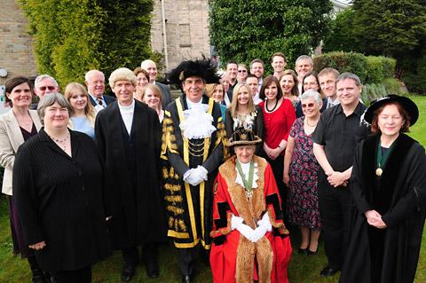 The Lord Mayor of York, Coun Keith Hyman, with Hazel Hague, master of the Gild of Freemen and 21 members of the same family given the freeman honour