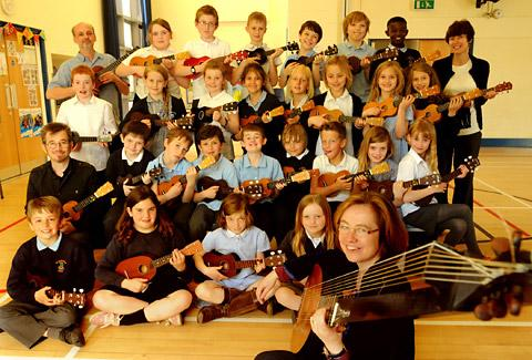 Lutenist Elizabeth Kenny (foreground) began rehearsals with (back left) ukulele player Nick Browning and school ukulele teacher (middle left) Christian Topman and pupils of St Barnabas Primary School for a performance at the York Early Music Festival