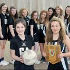 Joseph Rowntree School under-15s netball 'B' team captain Beth Blanchard, front left, and 'A' team captain Amy Storey, right, with their team-mates after the York & Selby tournaments