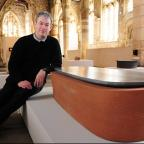 Julian Stair with his Rounded Sarcophagus, part of his Matter of Life and Death exhinition at York St Mary's