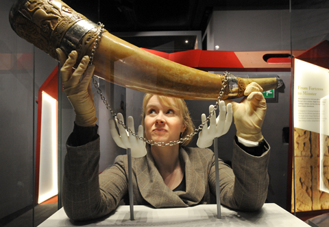 York Minster collections manager Vicky Harrison holds the Horn of Ulf.