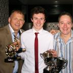 Ben Alport, above centre, with, left, U19 team manager Ian Fletcher and first team manager Richard Bower