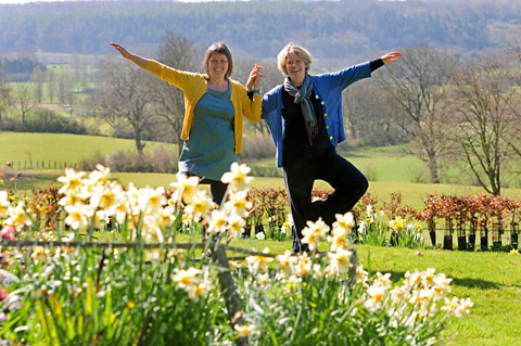 Jules Watson and Ruth Smith of the Little Yoga Company  pictured in the grounds of Ampleforth Abbey where their first event will take place next month
