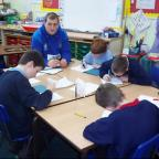 Jack Stearman pictured taking a literacy class at Sand Hutton Primary School