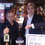 Landlord Paul Crossman and Greg Mulholland, at the Volunteer Arms for the York launch of the Fair Deal for Your Local campaign