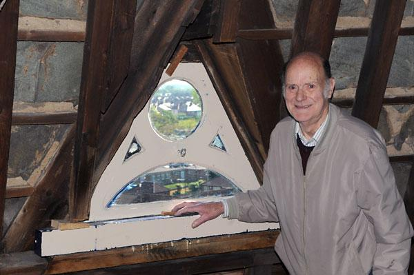 Church window restored by 80 year old DIY man
