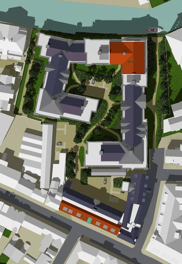 A view from above of how the two-acre Walmgate site will look if the scheme for 350 new student flats and apartments gets the go-ahead