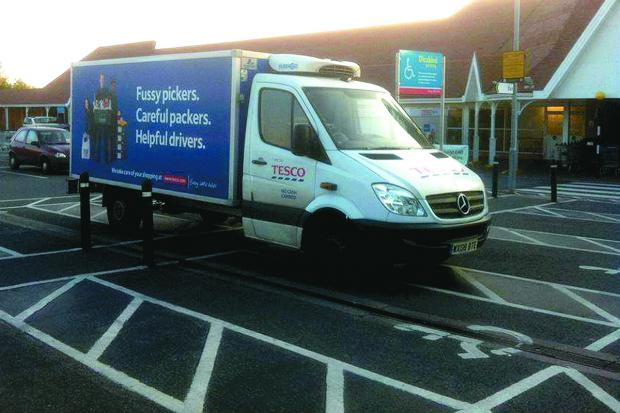 York Press: This Tesco delivery van does not practice what it preaches when it comes to careful driving.
