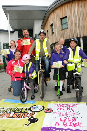 At the Green Explorer launch at Our Lady Queen of Martyr's Primary School  are, from left, Hannah Nightingale, Naomi Wells-Smith (Sustrans), Paul Osbourne (Sustrans), Matilde Farnier, Andre Farnier, Annie Brown  Eleanor Heggarty and Lucas Farnier