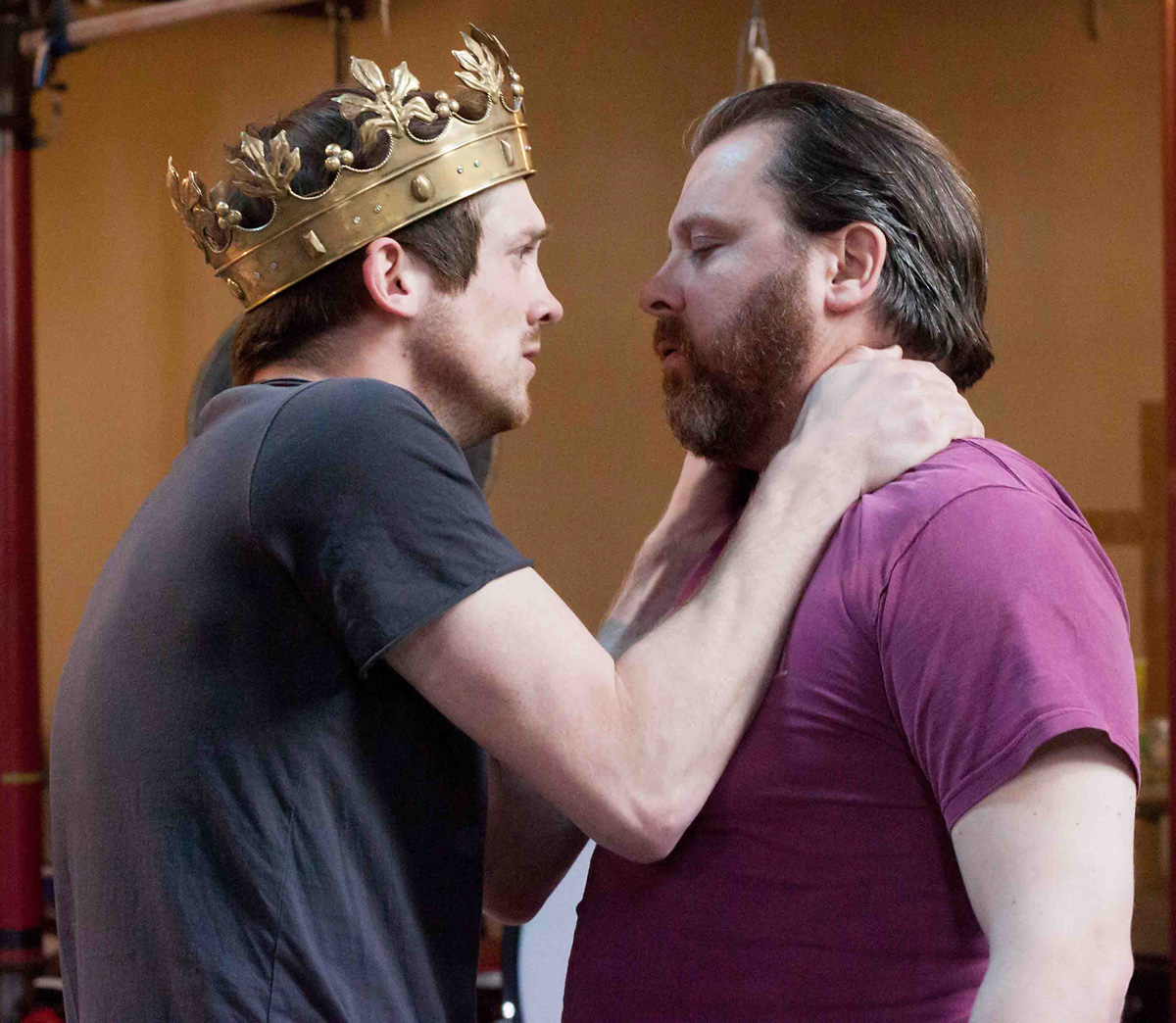 Graham Butler and Roger Evans in rehearsal for the Shakespeare's Globe production of the Henry VI plays