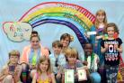 Assistant head teacher Anne Forman with youngsters at Huntington Primary School during the Rainbow Day