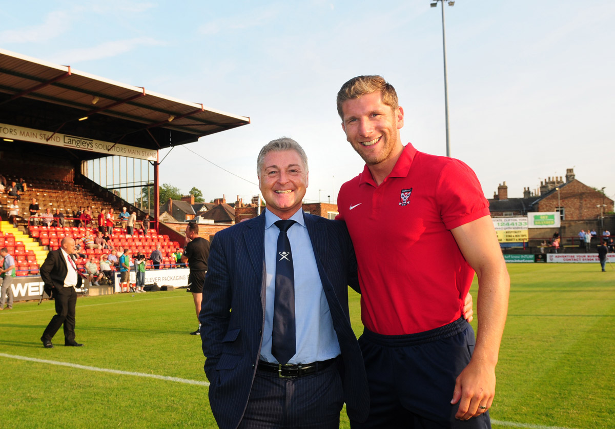 York City  chairman Jason McGill  welcomes striker Richard Cresswell back to Bootham Crescent ahead of last night's friendly against Huddersfield