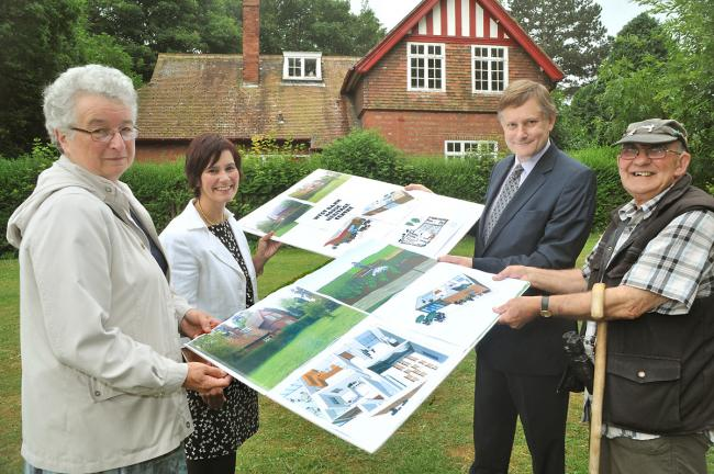 Looking at design proposals for the former keepers lodge in West Bank Park are, from left, Jenny Hartland, Jane Cullen, York MP Hugh Bayley and John Coulson