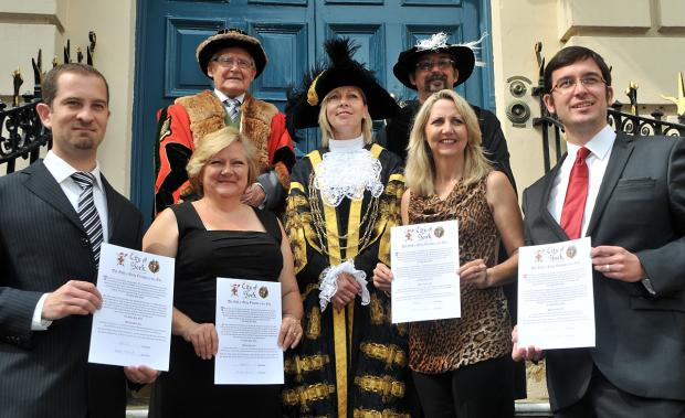 Front, from left, Jonathan Morley, Catherine O'Brien, the Lord Mayor of York, Coun Julie Gunnell, Heather Norman and Neil Morley. Back, from left, master of the Guild Of Freeman of York Alec Stephenson, and clerk of the guild Tom Gibson