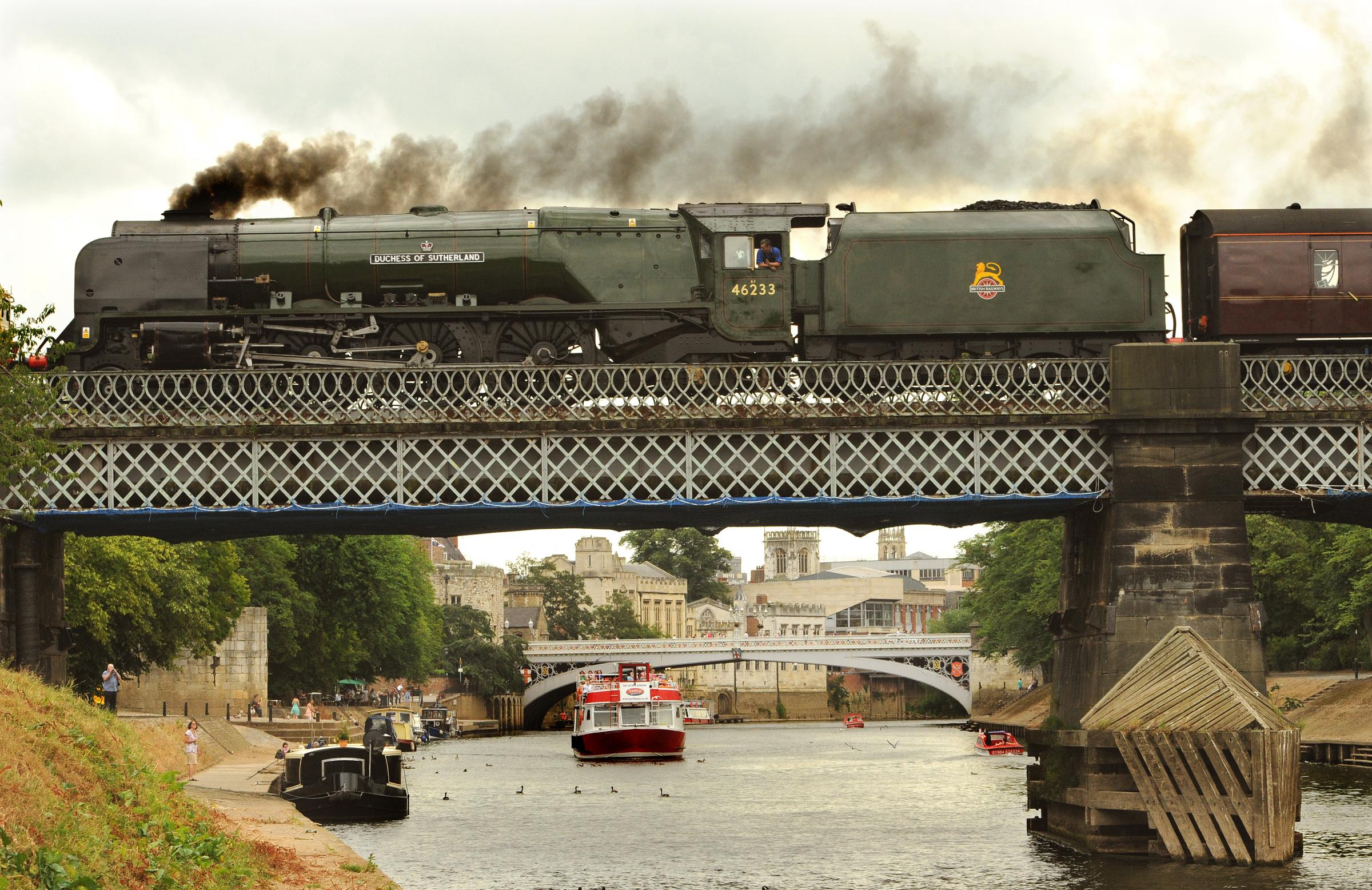 The Duchess of Sutherland steams over Scarborough Bridge