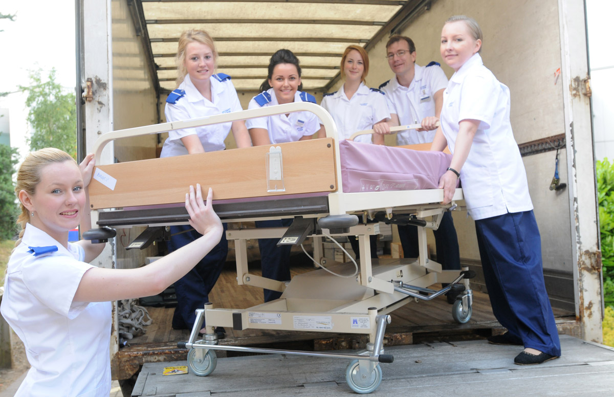 University of York student nurses load some of the medical equipment that will help healthcare colleagues at the college in  India