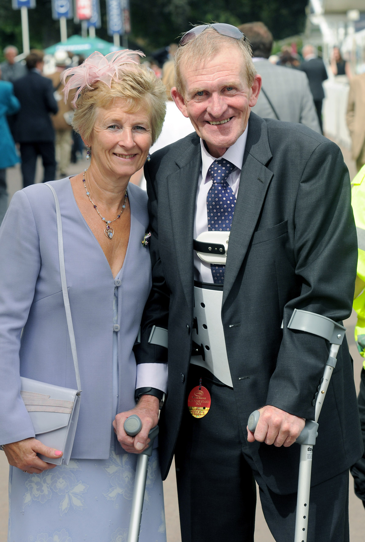 Tom and his partner Wendy Barry at York Races three months after the accident