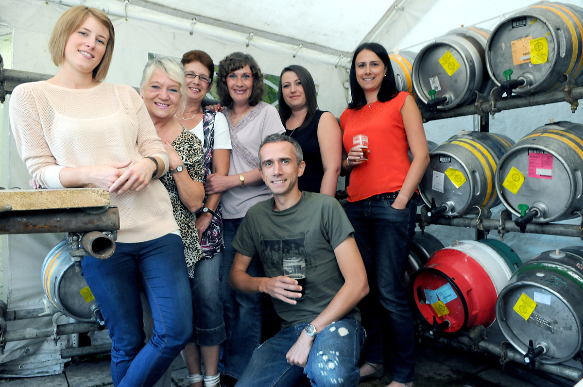Manager Kerry Brown, left, and regulars at The Swan, in Clementhorpe, getting ready for the beer festival