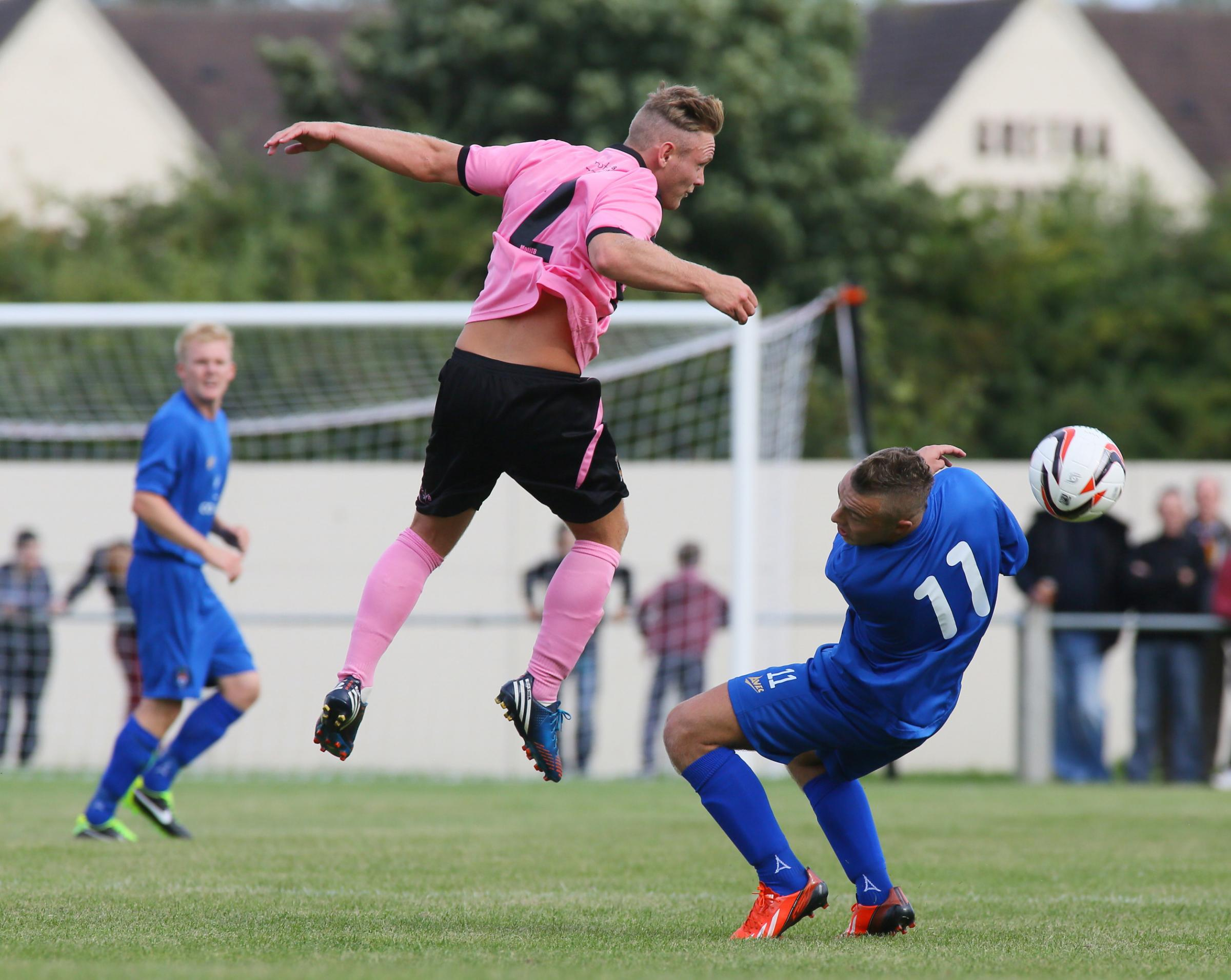 KALL TO ARMS: Spennymoor full-back Kallum Griffiths, pictured in pink, is believed to be part of York City's boss Martin Gray's rebuilding programme