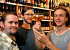 York Press: New beer columnists Rob McLeod, left, Michael Bates and Ian Loftus at the House of Trembling Madness