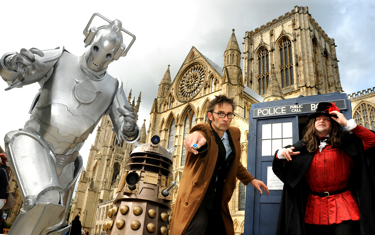 David Tennant lookalike Nigel Sumner with Gary Goldthorpe as Guy Fawkes and a Dalek and a Cyberman launch the sci-fi theme for this year's Kaboom Firework event