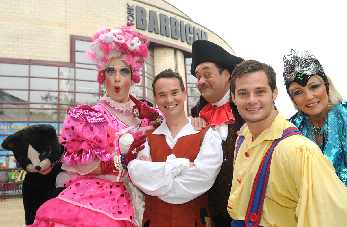 Jem Frazer as Fitzwarren, and, left, Robert Forknall (Sarah the Cook), Alex Winters (Dick Whittington), Jem Frazer (Fitzwarren), Danny Young (Idle Jack) and Kim Taylforth (Queen Rat)