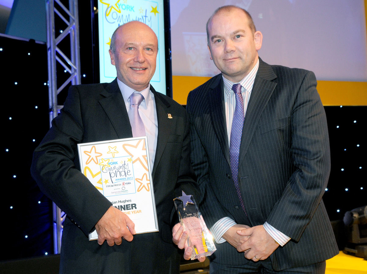 York Community Pride Person Of The Year, Brian Hughes, with Marc Bell, of Benenden Healthcare, at the event last year