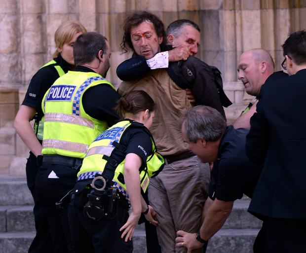 FLASHBACK: July 2013 and Scott Apps is searched outside York Minster by police as an injured David Smith restrains him