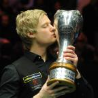York Press: Neil Robertson kisses the UK Championship trophy after his 10-7 final win over Mark Selby in York.Picture: Anna Gowthorpe/PA
