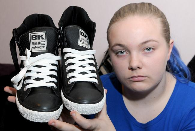 Lucy Holliday, 19, of Ampleforth, who claims she was made to feel uncomfortable for buying a pair of men's shoes