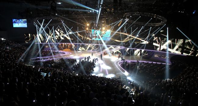 The stage for the Sports Personality Of The Year, which was constructed in North Yorkshire by Stage One