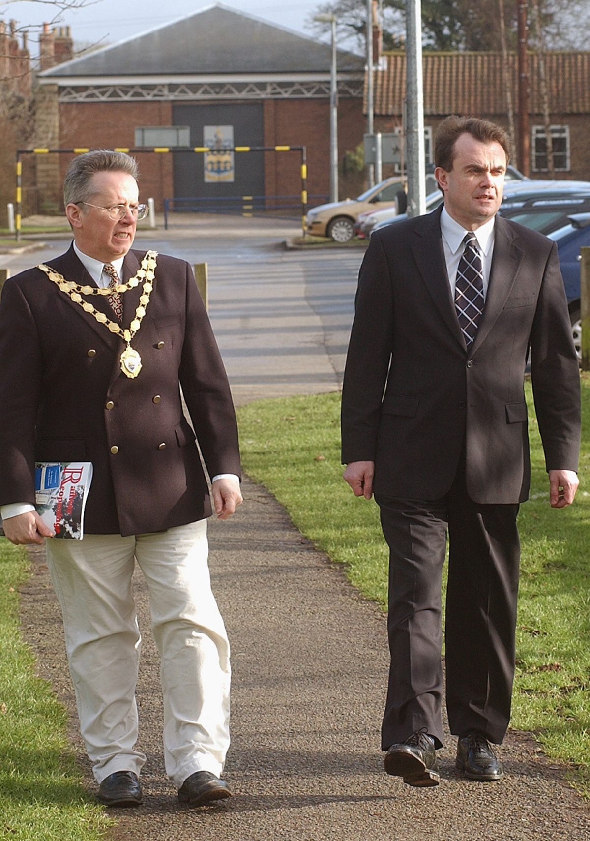 FLASHBACK: February 2004 and George McManus, the then mayor of Pocklington, with the founder of Minsters' Rail Campaign, Philip Taylor, on the old Pocklington-York rail line, part of the York-Hull line, with the Pocklington engine sheds in the backgroun