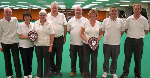 York Indoor Bowls Club's New Year's Eve pairs and plate finalists, from left, Mike Snowden, Pam Richardson, Sue Allen, John Orchard, Paul Milliner, Jean Carter, Phil Parsons and Nigel Macdonald