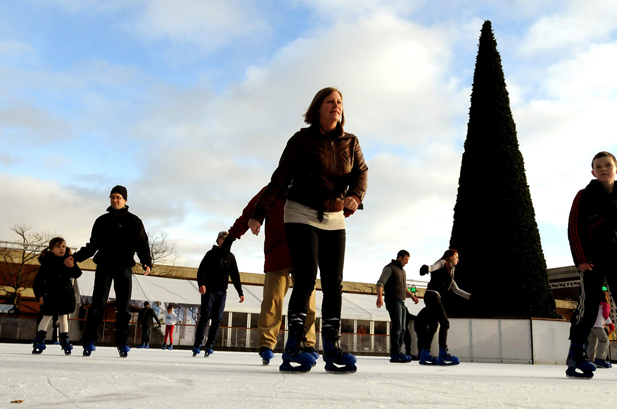 Skaters on the ice at the Yorkshire Winter Wonderland and the  Ice Factor