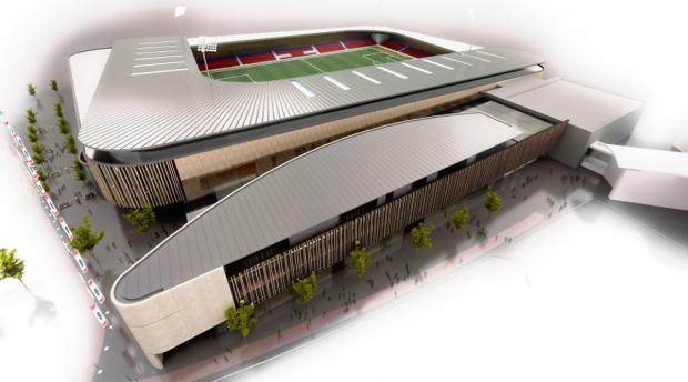 An artist's impression of the proposed community stadium