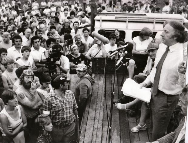 Arthur Scargill speaks to miners at a rally in Scott Road Selby in August, 1984