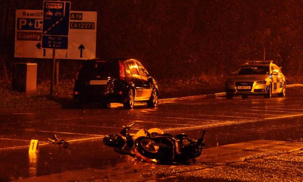 The scene of last night's crash between a car and a motorbike on the A19 in Shipton Road