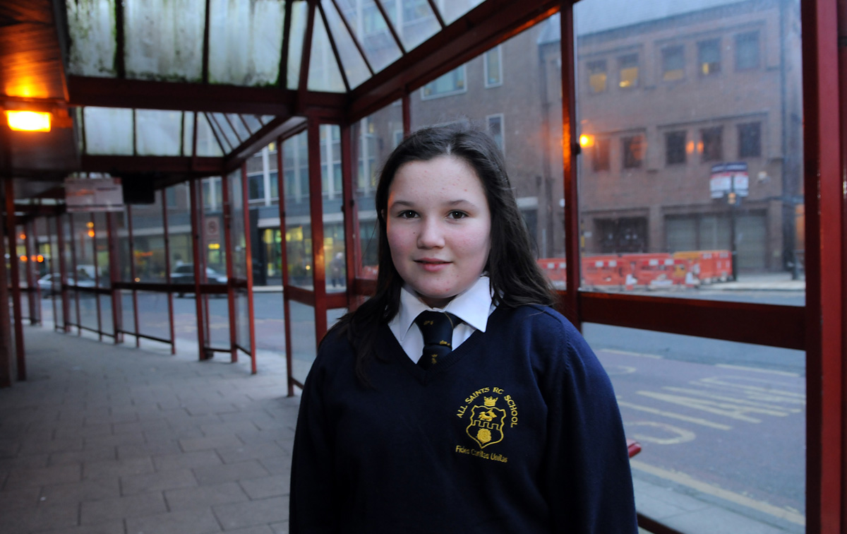 Megan Harris, 11, who had to pay for an adult bus ticket because she had no ID on her