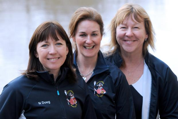 Three of the four members of the Guy Fawkes Boat Club who are planning to row across the Atlantic, from left, Niki Doeg, Helen Butters and Janette Benaddi