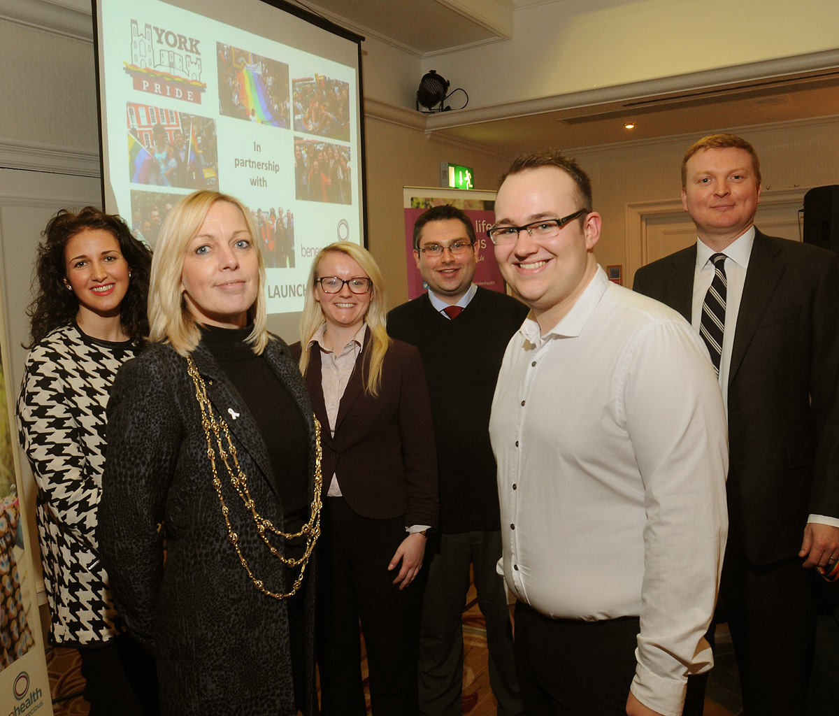 From left, Sophie Hicks, Councillor Julie Gunnell, Hayley Parker, Councillor James Alexander, Greg Stephenson and Lawrence Christensen at the launch of York Pride 2014 at the Hilton Hotel
