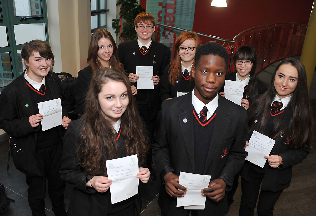 Pupils from Manor CE Academy celebrate their A* GCSE English success.