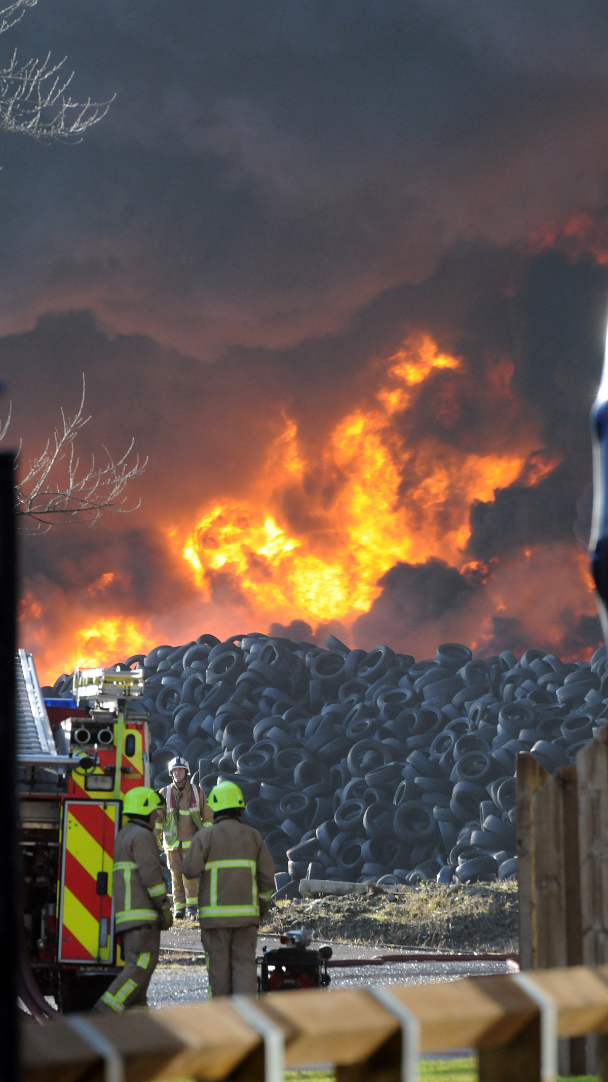 7.30pm UPDATE: Up to 15,000 tonnes of tyres ablaze - May burn for weeks - Schools will be open tomorrow - Locals told: stay indoors - Smoke visible from space