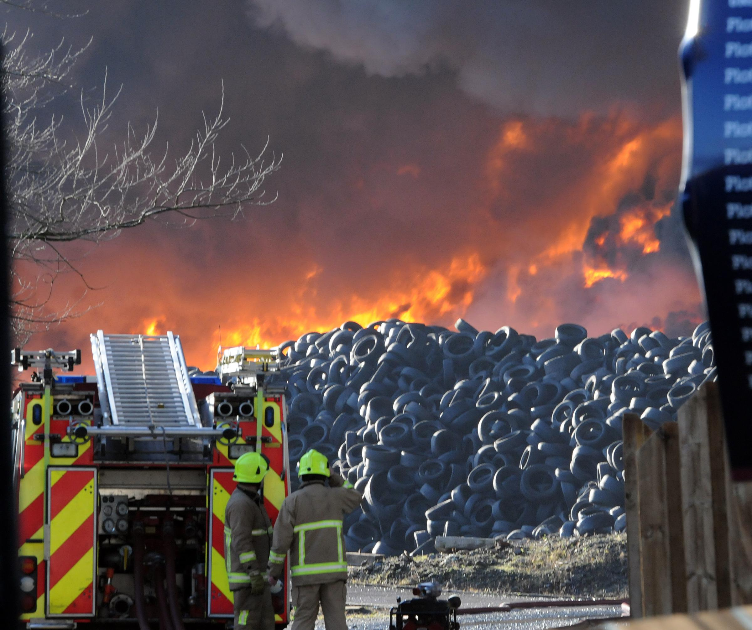 Tons of tyres go up in smoke at Sherburn-in-Elmet