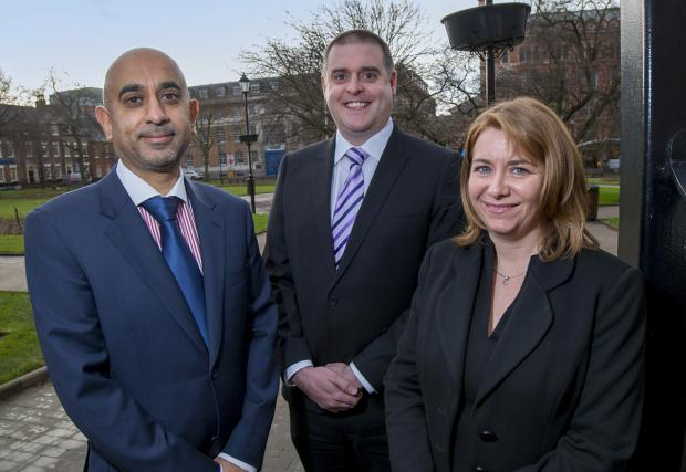 Tariq Javaid, left, Matthew Grant and Sarah Ashton, who have been appointed directors at York accountants Garbutt & Elliott