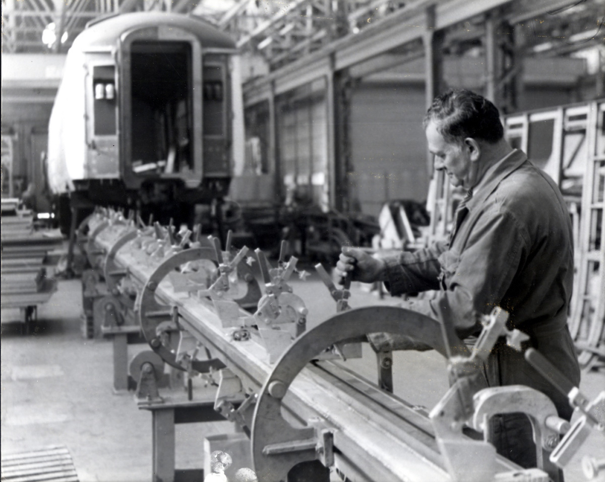 A craftsman at work on a jig at York Carriageworks in 1974