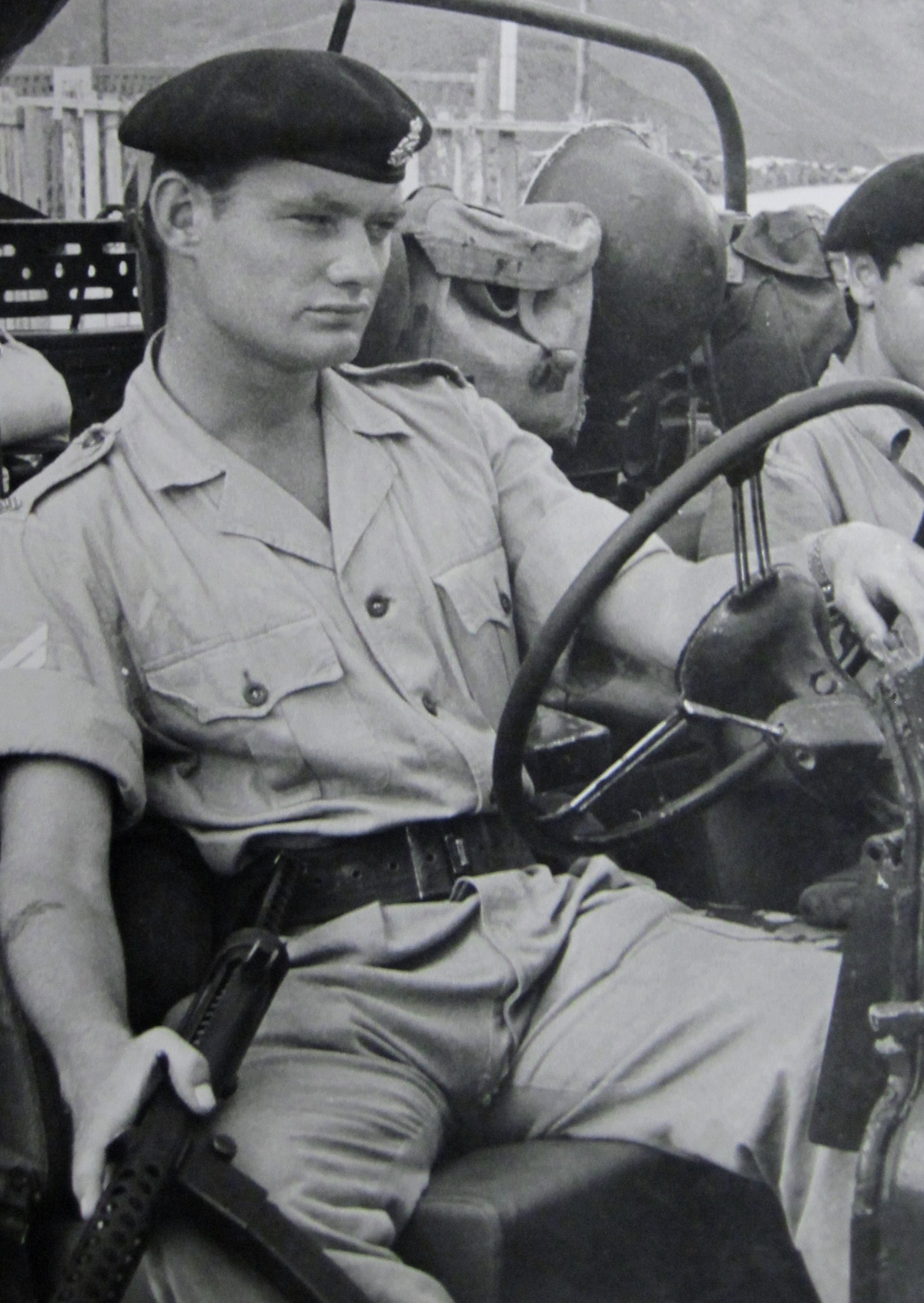 Ronnie Bradley at the wheel of a Land Rover in Aden