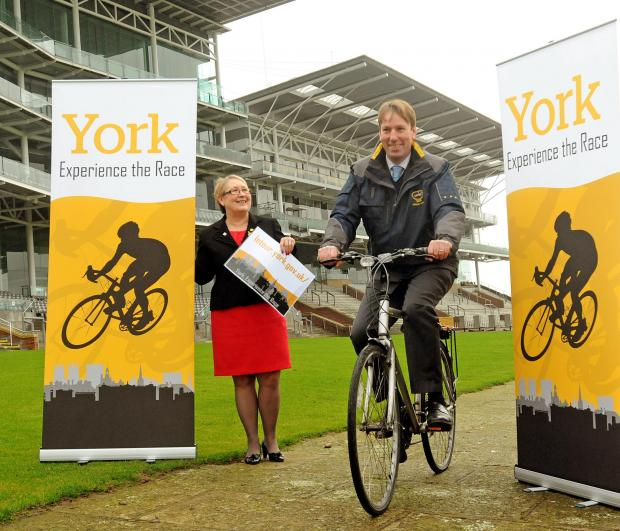 Coun. Sonia Crisp ,Cabinet Member for Leisure, Culture and Tourism for the City of York Council and William Derby, Chief Executive of York Racecourse launch the release of tickets for Le Grand Depart at York Racecourse .