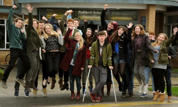 Fulford school students celebrate good results.